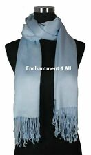 100% 2-Ply Pashmina Cashmere Women Bridal Large Scarf Shawl Wrap, XL, Baby Blue