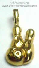 Bowling Charm Ball & Pins League Bowler Sports Pendant EP 24k Gold Plated Charms