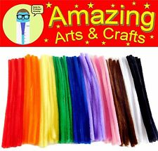 50 Giant Pipe Cleaners Chenille Stems 30cm x 12mm 10 Assorted Colours in pack