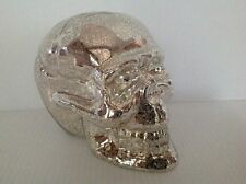 POTTERY BARN 1 MERCURY GLASS SKULL HALLOWEEN CANDLE HOLDER NEW SOLD OUT AT PB