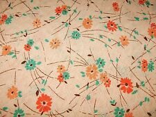 "2+ Yds Vtg Cotton Blend Lacy Knit Fabric Floral Print 74"" x 60"" Peach Coral Jade"