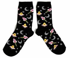 LADIES BLACK ROCKET U.F.O. SPACE MOON SOCKS UK SIZE 4-8 EUR 37-42 US 6-10