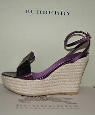 NIB BURBERRY PRORSUM SNAKESKIN BOW LEATHER WEDGES SANDALS SHOES EU 39 US 9