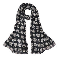 SKULL AND CROWN BLACK FASHION SCARF WRAP SHAWL SOFT LONG LIGHTWEIGHT MATERIAL