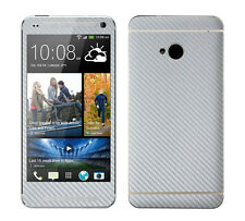 2 X White Carbon Fibre Skin Sticker Full Body Wrap For HTC One / M7