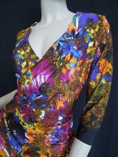 ROBERTO CAVALLI DRESS 'IL GIO' 8L IT42 ELEGANT VIBRANT FLORAL- GREAT EASY FIT