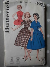 Early 60s Dress with Full Skirt Vtg Sewing Pattern Butterick 9261 Bust 36