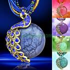 Fashion Handmade Delicate Crystal Peacock Pendant Millet Chain Necklace Jewelry