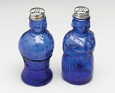 BLUE DEPRESSION GLASS AUNT SALLY SALT AND PEPPER SHAKERS