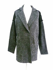 peppercorn tweed coat with frayed shoulder seams SIZE S NEW BOX8413 C