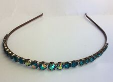 Vintage Summer Wedding Tiara Head Band Headband Blue Aurora Borealis Rhinestone
