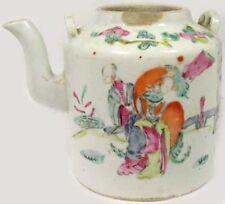Antique 19th Century China Hand Painted Famille Rose Porcelain Teapot Park Motif