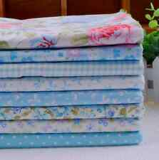 NEW 8pcs BUNDLE blue COTTON FABRIC/MATERIAL FLORAL DOTS sewing Quilting Crafts