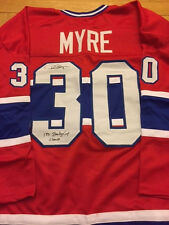 Montreal Canadiens Phil Myre Signed Jersey 71 Stanley Cup Champ inscrip W/COA