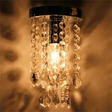 Silver Chrome Crystal Droplets Ceiling Pendant Light Chandelier Fitting Lamp SY