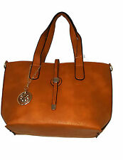 Women's Faux Leather Shopping Shoulder Bag with Gold Chain Hardware ALMOND