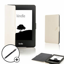 Cuero Blanco Shell Smart Funda Protectora Para Amazon Kindle Paperwhite 2015 + Stylus