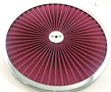 "Chrome Trimmed Red Element Open Style Washable 14"" Filter Flow Air Cleaner Top"