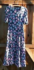 Laura Ashley Vintage Conservative Dress Floral A-Line Short Sleeve Great Britain