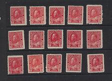 Canada  106    15 stamps unused  NO gum              MS1010