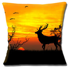 "NEW STAG SILHOUETTE SUNSET SCENE TREES BIRDS BRIGHT SKY 16"" Pillow Cushion Cover"