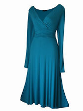 VINTAGE STYLE LONG SLEEVED CALF LENGTH EVENING FORMAL PARTY DRESS SIZES 8 - 24