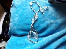 QUALITY LONG SPARKLY SILVER CRYSTAL AND GLASS BALL BEAD NECKLACE 76-71