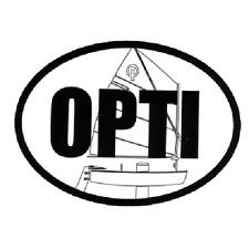 Opti / Optimist  Sailboat  Oval Decal   by Miami Opti Moms