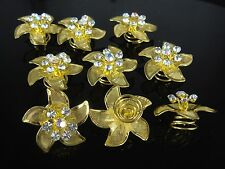 Hot Sale 6Pcs Wedding Flower Crystal Hair Twists Spins Pins Gold Color  Hairpins