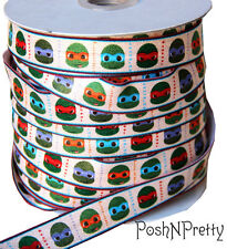 Designer 3 Yards 5/8 Print Fold Over Elastic Stretch FOE - Ninja Turtles