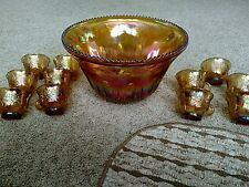 Vintage Indiana Iridescent Gold Carnival Glass Grape Punch Bowl & 11 Cup Set