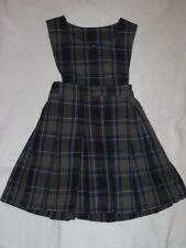 Girls Becky Thatcher Elderwear School Uniform Plaid Jumper Dress Blue Gray Sz 4