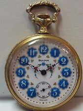 Vintage BULOVA Hand-Painted Porcelain Swiss Mechanical Pocket Watch - RUNNING