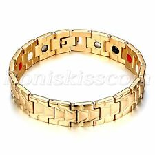 Classic Polish Stainless Steel Magnetic Bracelet Chain Wrist Link Men's Jewelry