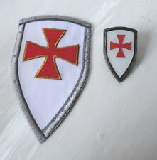 ZPs Knights Templar Shield Iron Patch + Badge Crusader St George Crusade Cross