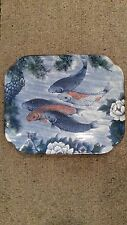 RECTAGONAL JAPANESE DECORATIVE PORCELAIN KOI FISH CARP PLATE PLATTER