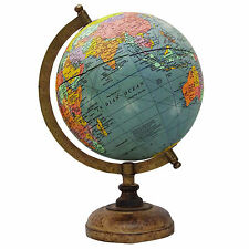 "13"" Big Decorative Blue Ocean Rotating Globe World Geography Table Decor Earth"