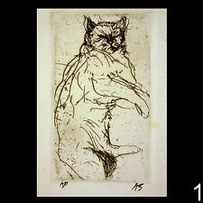 Signed original artist's proofs of intaglio etchings of Cats by Aubrey Schwartz
