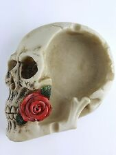 Collectible SKULL WITH ROSE IN TEETH ASHTRAY Handpainted Resin Statue SKULLS