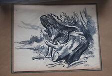 Maximilien LUCE - Dessin original signé lavis et fusain arbre *