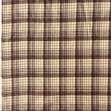 Cotton Flannelette Sewing Craft Fabric Brown Bone Plaid Check Remnant