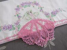 SINGLE Vtg Embroidered PETTICOAT Girl Pillowcase SOUTHERN BELLE Pink Purple