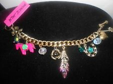 BETSET JOHNSON GOLD TONE,AUTHENTIC, OVAL LINK MULTI- CHARM,COLOR FULL BRACELET.