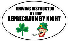 DRIVING INSTRUCTOR BY DAY LEPRECHAUN - Driving / Fun Vinyl Sticker 16cm x 9cm