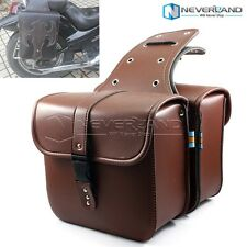 Brown Motorcycle PU Leather Tool Panniers SaddleBag Luggage For Harley Cruiser