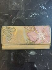 Vintage FOSSIL Brown Leather Floral Embroidered WALLET Trifold FS