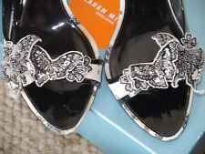 Karen Millen off white ecru grey Butterfly beaded peep toe shoes 40