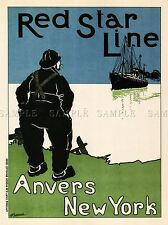 TRAVEL RED STAR LINE ANVERS NEW YORK BELGIUM REPRO ART POSTER 1008PYLV