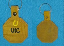 60s 70s vintage key chain tag fob BOHO HIPPIE name=VIC old school leather NOS