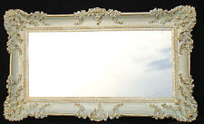 Espejo de pared Rectangular Oro Blanco Dual WANDDEKO BARROCO Antiguo 96x57cm